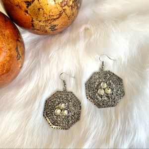 Large Silver Earrings with Rhinestone Accents